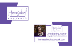 Homeschool Copywork: Business Card front and back