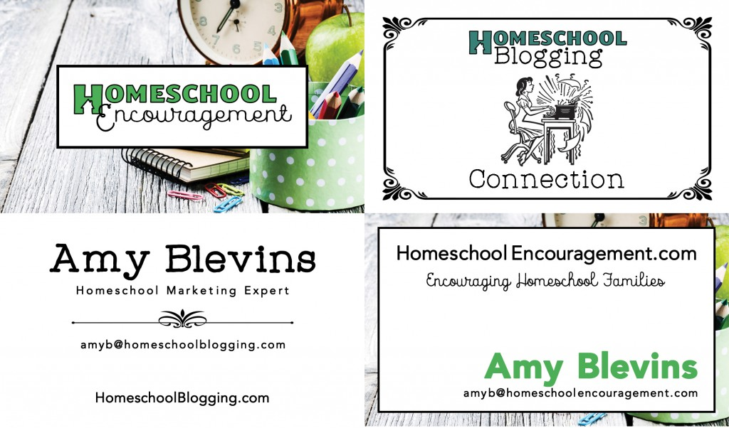 Business cards I made for Homeschool Encouragement and Homeschool Blogging
